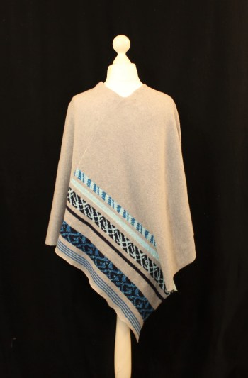 Solasonach Lunan Lambswool poncho in light grey blue and turquoise