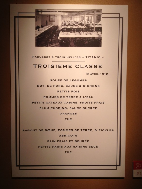 Menu troisième classe Titanic
