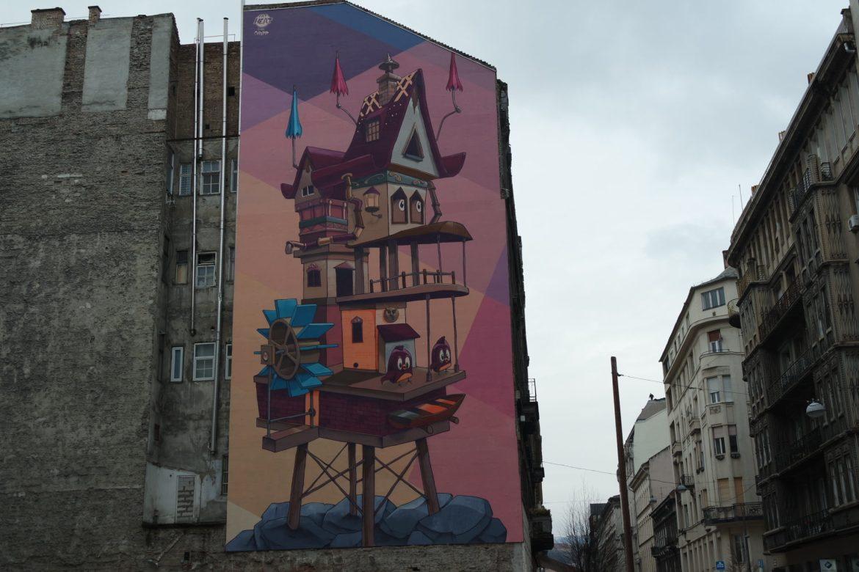 street art Budapest en hiver