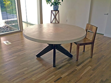 white round concrete table