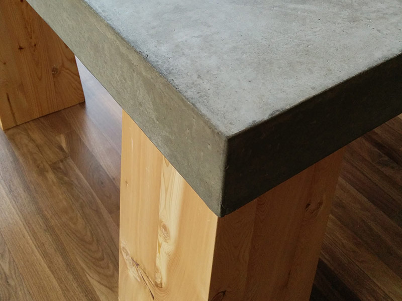 close up of concrete table top edge