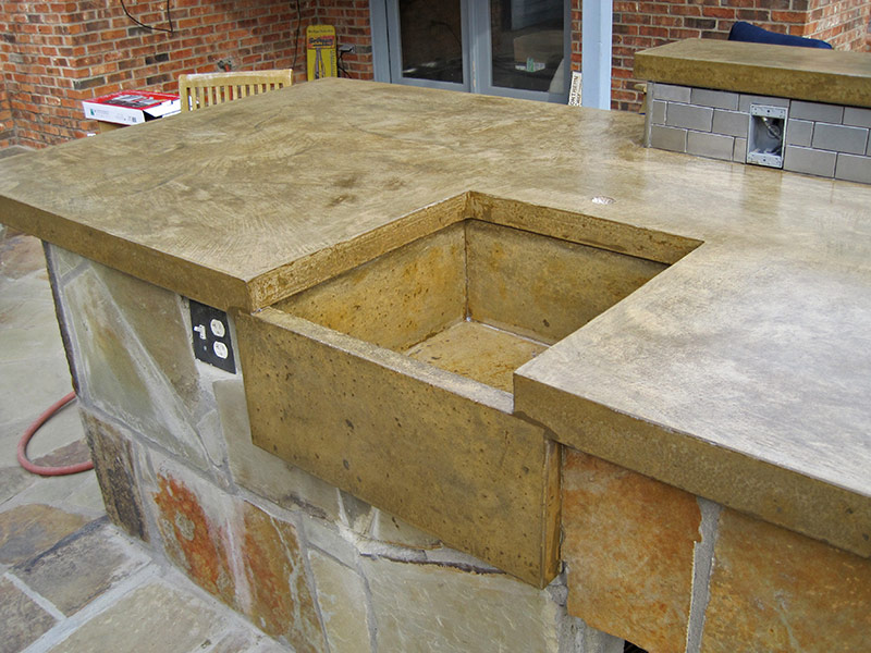 sandstone colored concrete basin sink