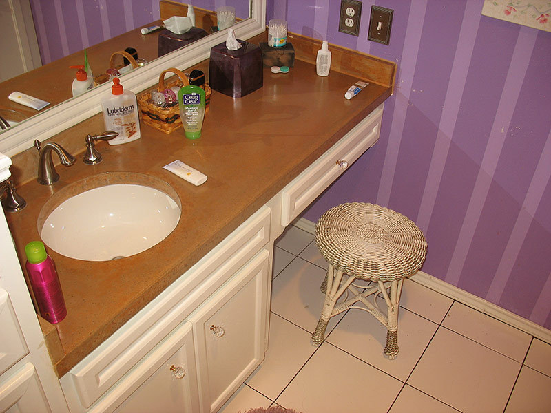 stained concrete bathroom countertop with undermount sink