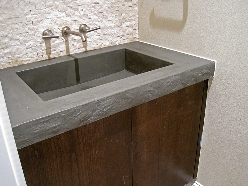side view of integral bathroom sink