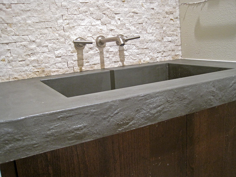 front view of integral concrete sink