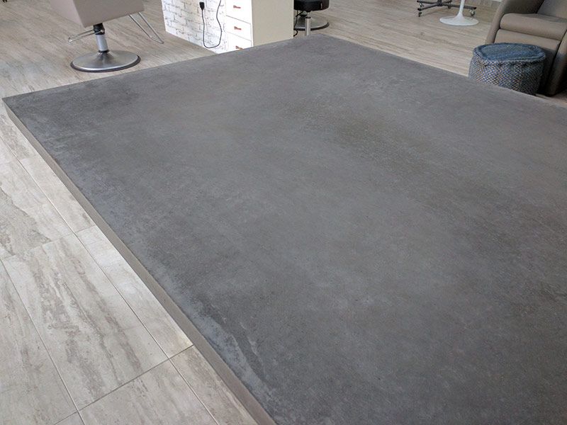 middle portion of gray concrete conference table