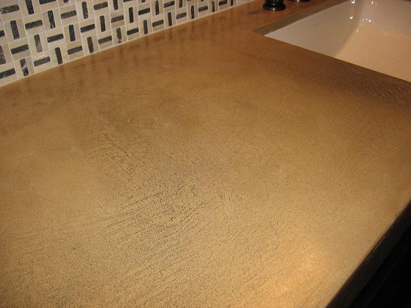 closeup of beige colored concrete countertop