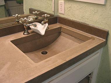 gray concrete trough sink
