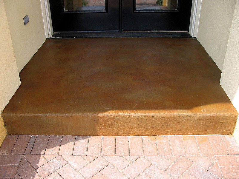 front view of stained concrete entryway