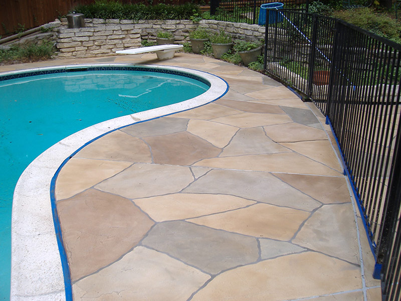 another view of pool deck with trowel down overlay