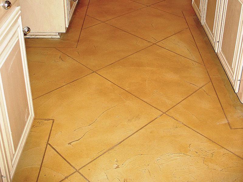 hallway with trowel down overlay