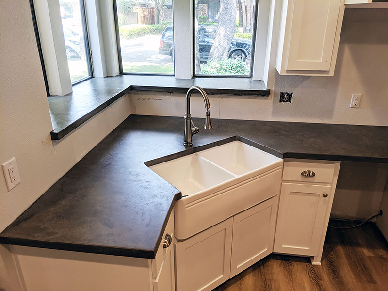 dark gray concrete countertop
