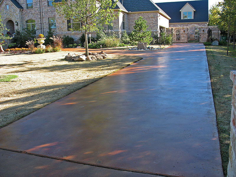 driveway after acid staining