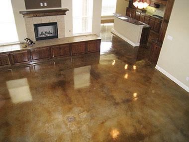 amber acid stained floor
