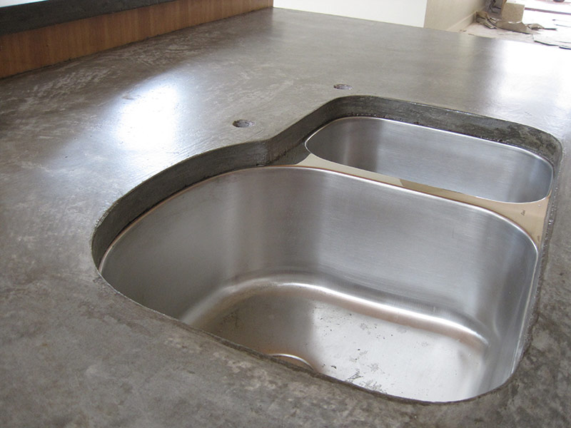 closeup view of undermount sink