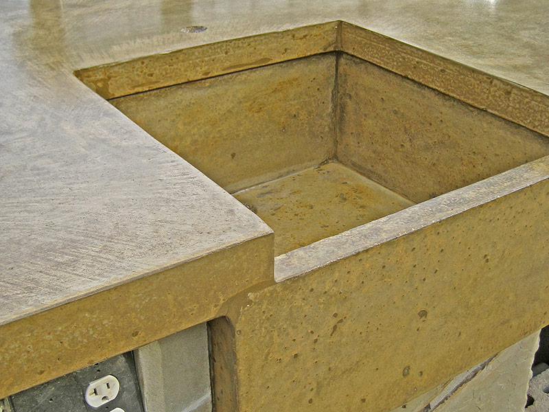 side view of concrete sink