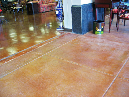 shift in concrete stain color due to different finishes
