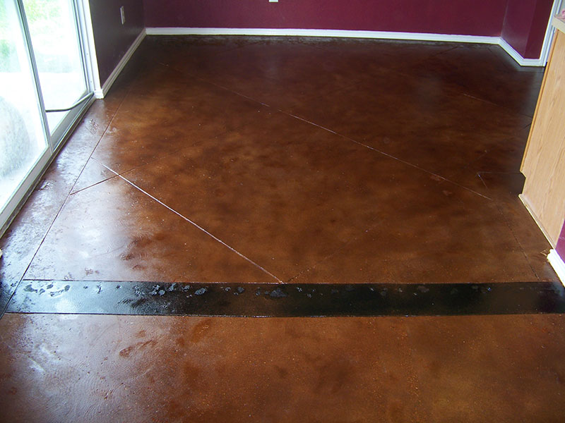 patched tack strip holes after acid staining