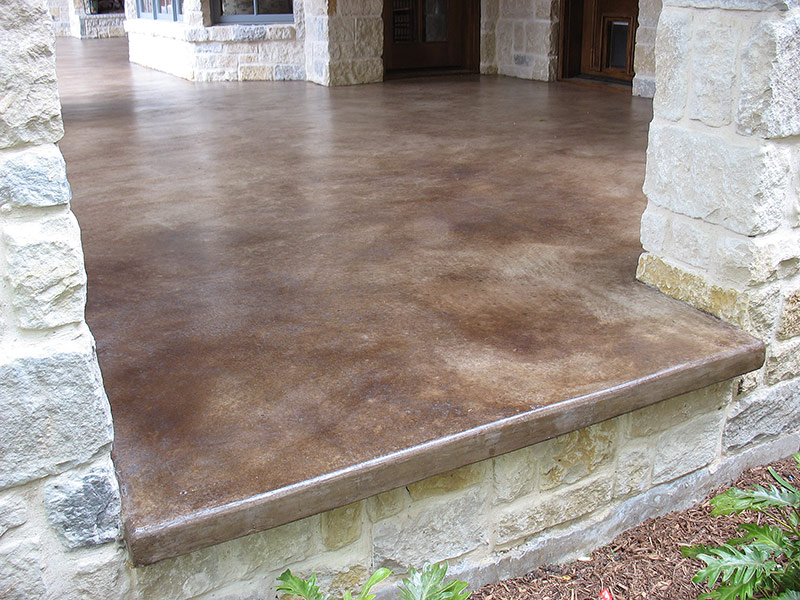 kona brown acid stained patio showing lip