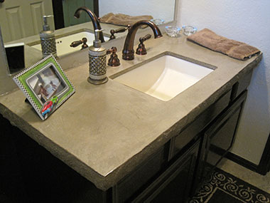 pebble colored concrete countertops