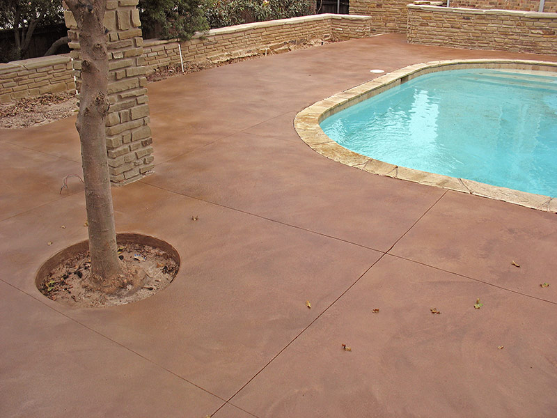 view of pool deck with tree