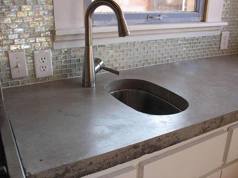 side view of prep sink for concrete countertop