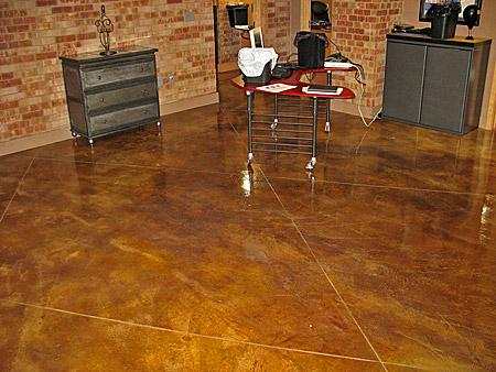 large diamond tile pattern scored into concrete floor