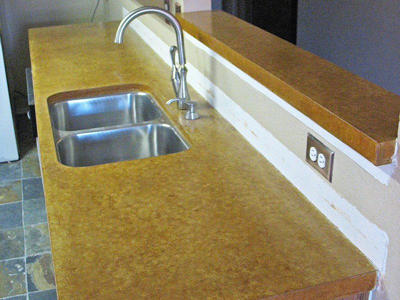 stained concrete countertop with undermount sink