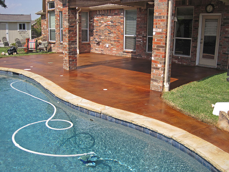 another view of stained pool deck