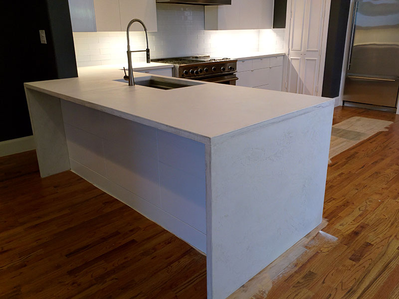 white concrete countertop