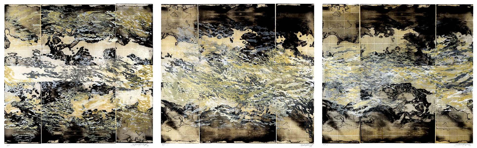 Atmosphere in Gold I,II,III, print