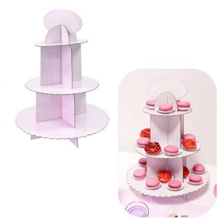 presentoir a cupcake 3 etages rose h 39 5 cm support a gateaux pour baby shower