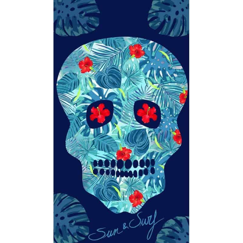 Drap De Plage Tete De Mort Jungle Bleu 95x175cm