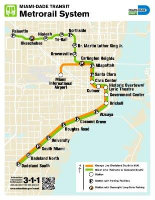 Mappa del Metrorail di Miami