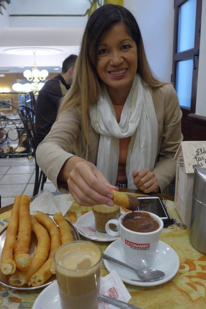 Churros con chocolate at Cafe Futbol