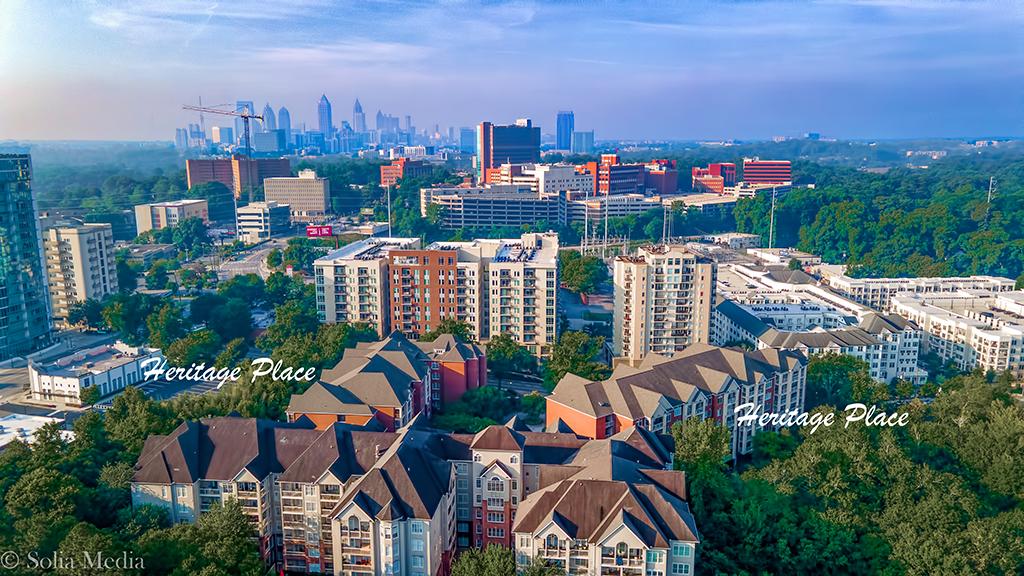 Solia Media Best Drone Services Atlanta - Heritage Place Condos Buckhead Atlanta with Atlanta Skyline in Background