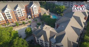 Commercial roofing job Atlanta captured by Solia Media drones. Heritage Place condominiums. Buckhead Atlanta