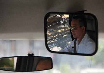 Circulator driver, Phuong Nguyen in rearview mirror (photo by Lara Breitkreutz)