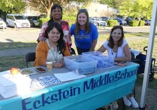 Eckstein Middle School staff (l to r): Luz Santacruz-Ochoa, Barb de Normandie, Kristin Rose, & Leann Rowlen