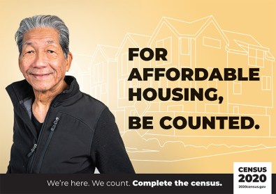 """US Census poster picturing a man w/ the text: """"For affordable housing, be counted."""""""