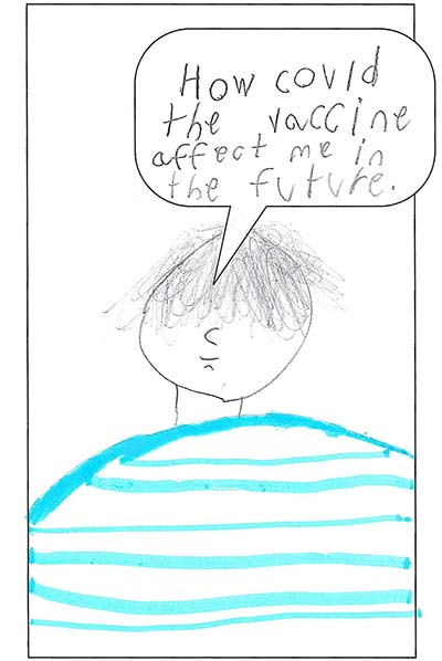 Youth drawing of a guy in a blue striped shirt asking 'How could the vaccine affect me in the future?'