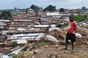 Bidonville de Kibera, Nairobi, Kenya