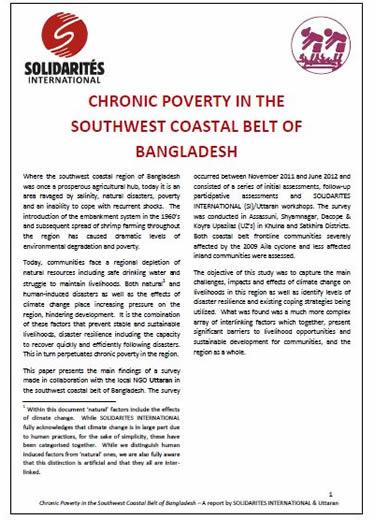 CHRONIC POVERTY IN THE SOUTHWEST COASTAL BELT OF BANGLADESH