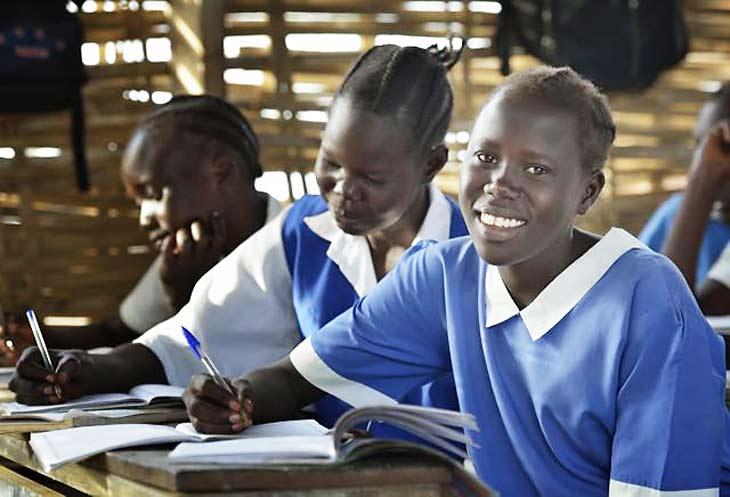 Girls in a classroom in Agok, South Sudan
