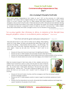 South Sudan Independence Day Prayer Sheet image