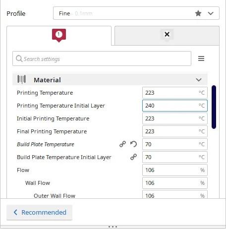 temperature setting inside slicing software