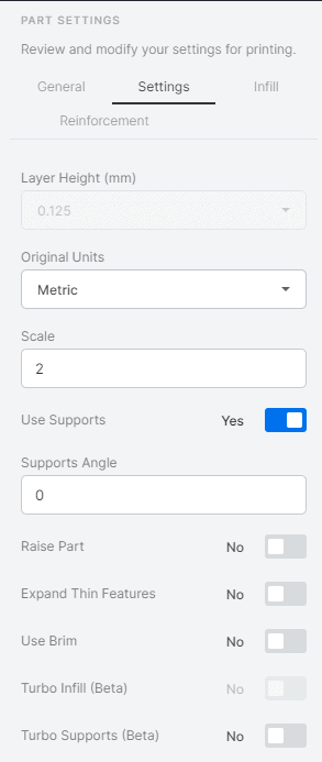 Markforged Eiger Part Settings