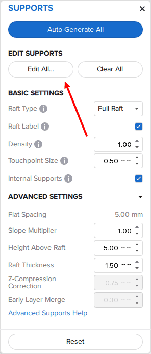 Location of Edit All button on preform