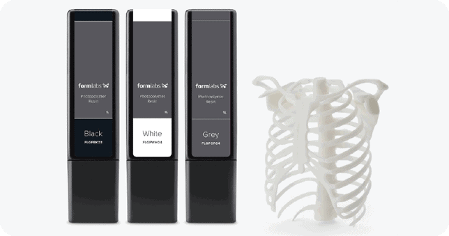 Formlab resin range. SLA printers and medical