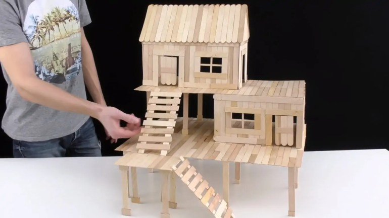 popsicle stick rodent house